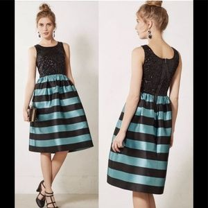 Anthropologie Striped and Sequined Dress